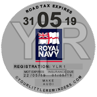 Royal Navy Car Vehicle Road Tax Disc Reminder PYLR176
